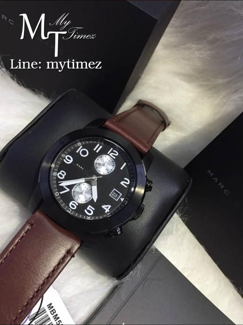 นาฬิกาข้อมือ Marc by Marc Jacobs Larry Chronograph Brown Leather Watch MBM5053