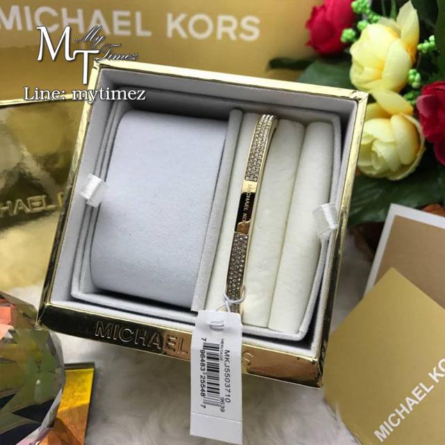 Michael Kors Gold Pave Brilliance Hinge Bangle Bracelet MKJ5503