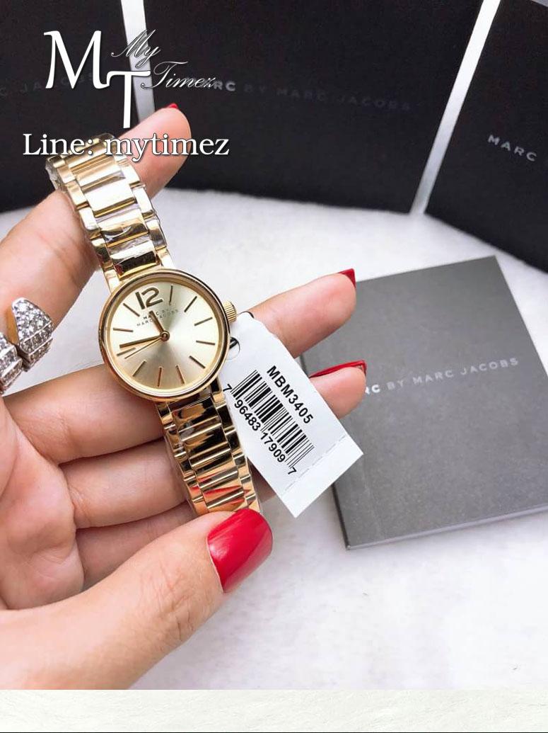 นาฬิกาข้อมือ MARC BY MARC JACOBS Peggy Gold-Tone Sunray Dial Ladies Watch MBM3405