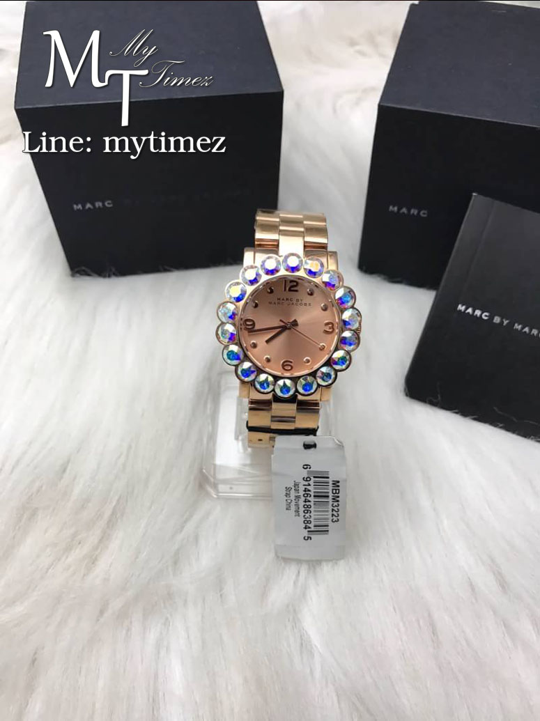 Marc By Marc Jacobs Amy Scallop Rose Tone Glitz Holographic Watch MBM3223