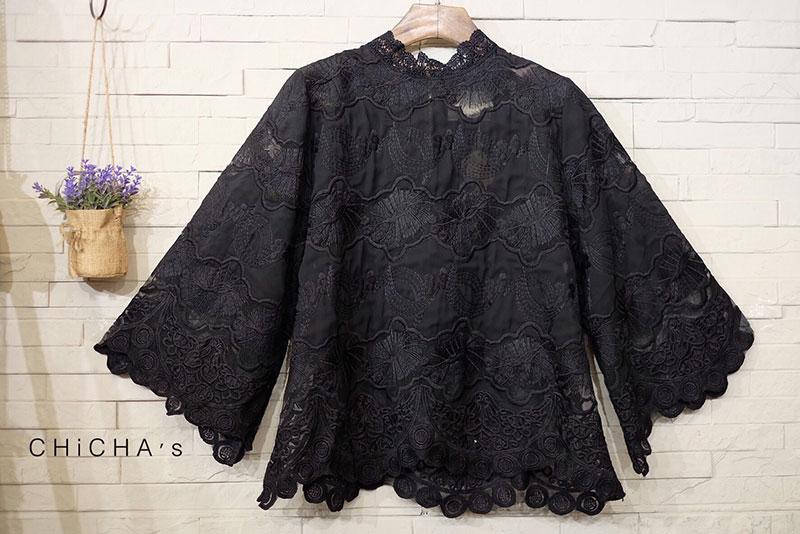 เสื้อลูกไม้แฟชั่น สีดำ