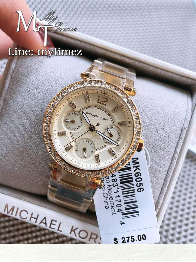 นาฬิกาข้อมือ MICHAEL KORS รุ่น Mini Parker Champagne Glitz Dial Steel Ladies Watch - MK6056