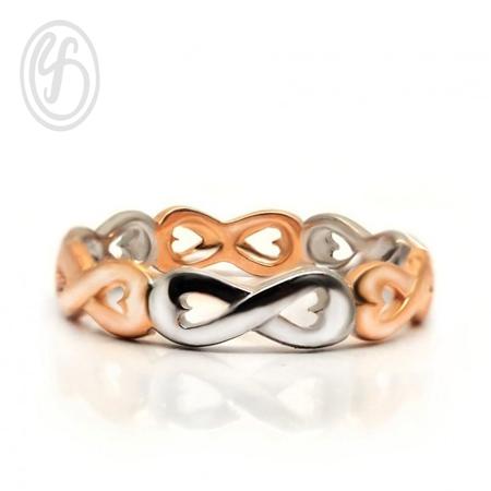 แหวนเงินเกลี้ยง เงินแท้ 92.5% ชุบพิงค์โกลด์ และทองคำขาว แหวนอินฟินิตี้ หน้ากว้าง 5 มม. เหมาะเป็นของขวัญในวันพิเศษให้คนพิเศษของคุณ