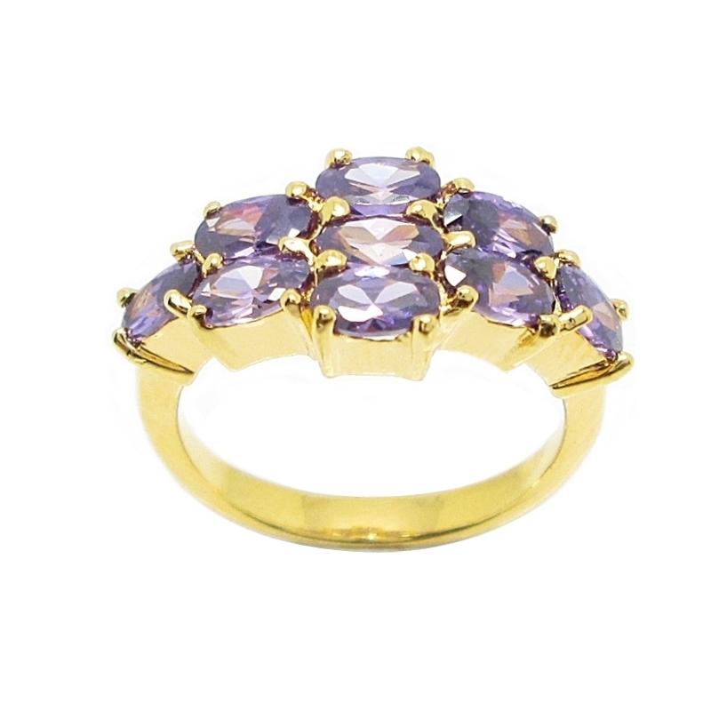 แหวนประดับพลอยอเมทิสรูปไข่ชุบทอง