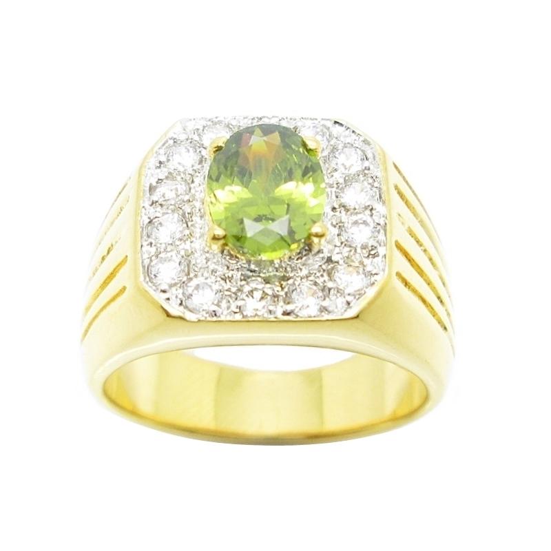 แหวนผู้ชายพลอยสีเขียวส่องประดับเพชรจิกไข่ปลาชุบทอง