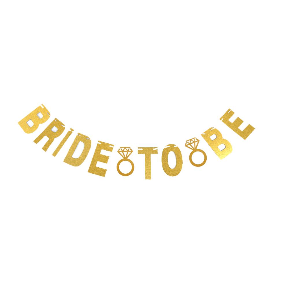 ธงตัวอักษร BRIDE TO BE และแหวนแต่งงาน (สีทองกลิตเตอร์)