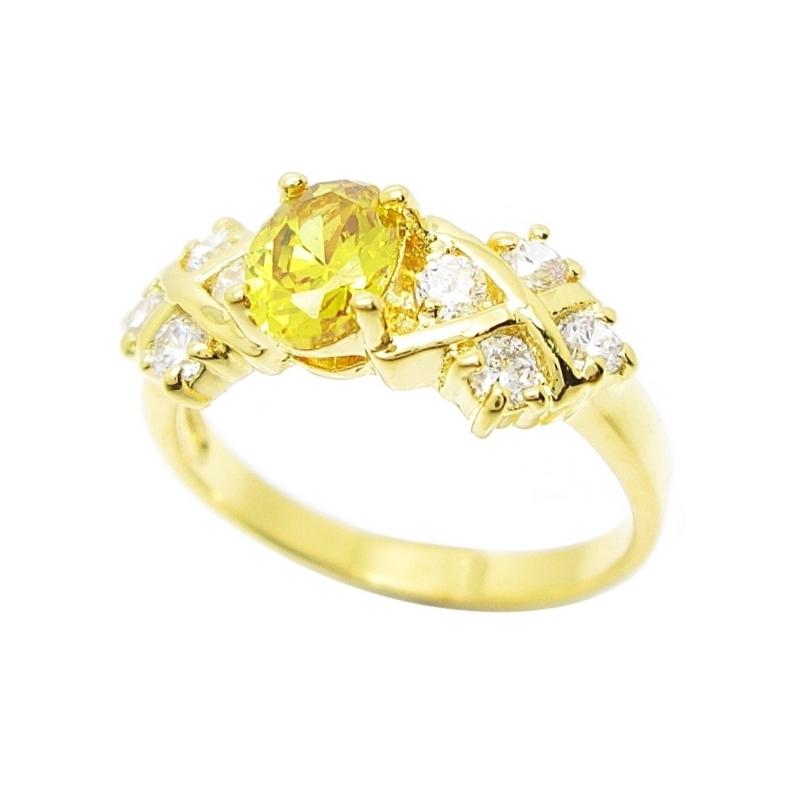 แหวนพลอยบุศราคัมประดับเพชรชุบทอง