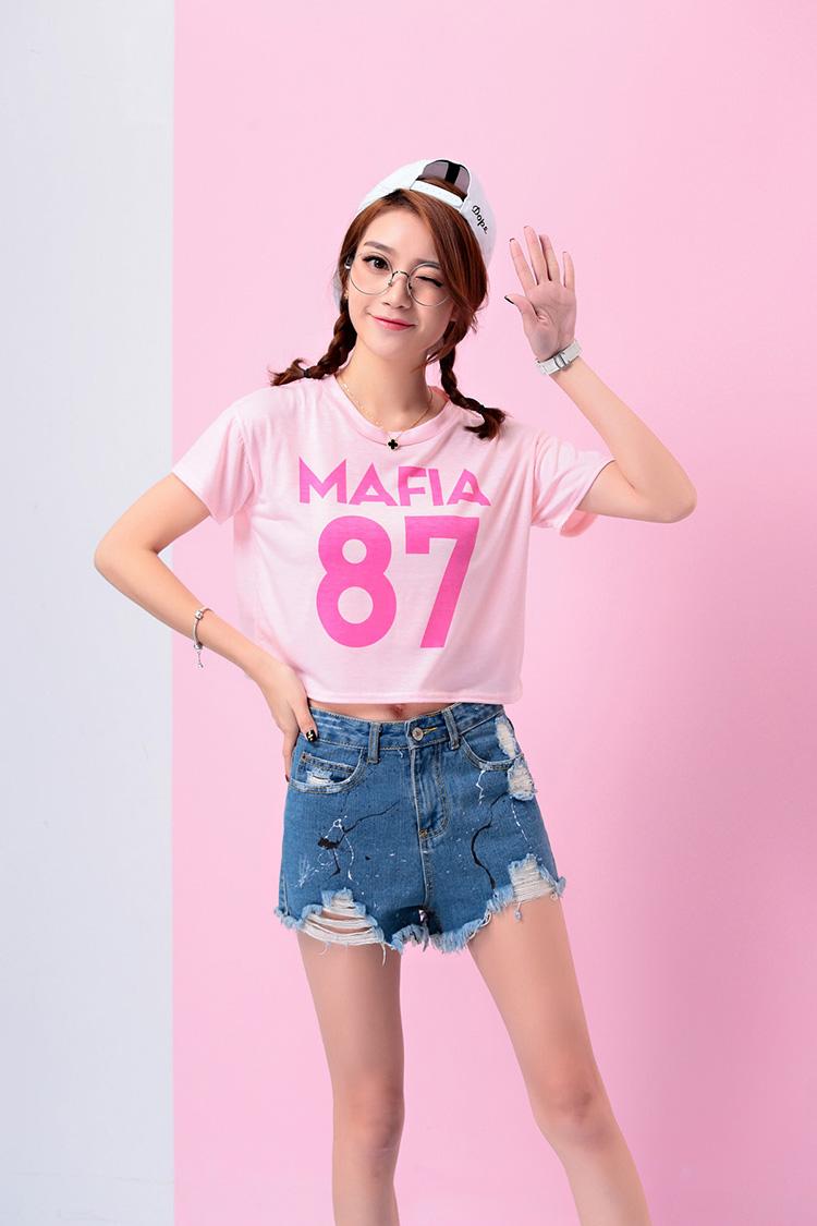 เสื้อแฟชั่นเกาหลี ครอปสีชมพู สกรีนลาย mafia 87