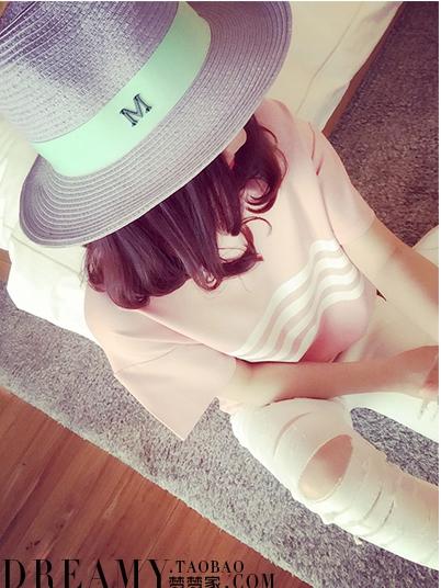 เสื้อแฟชั่น คอกลมลายขวาง สีชมพู