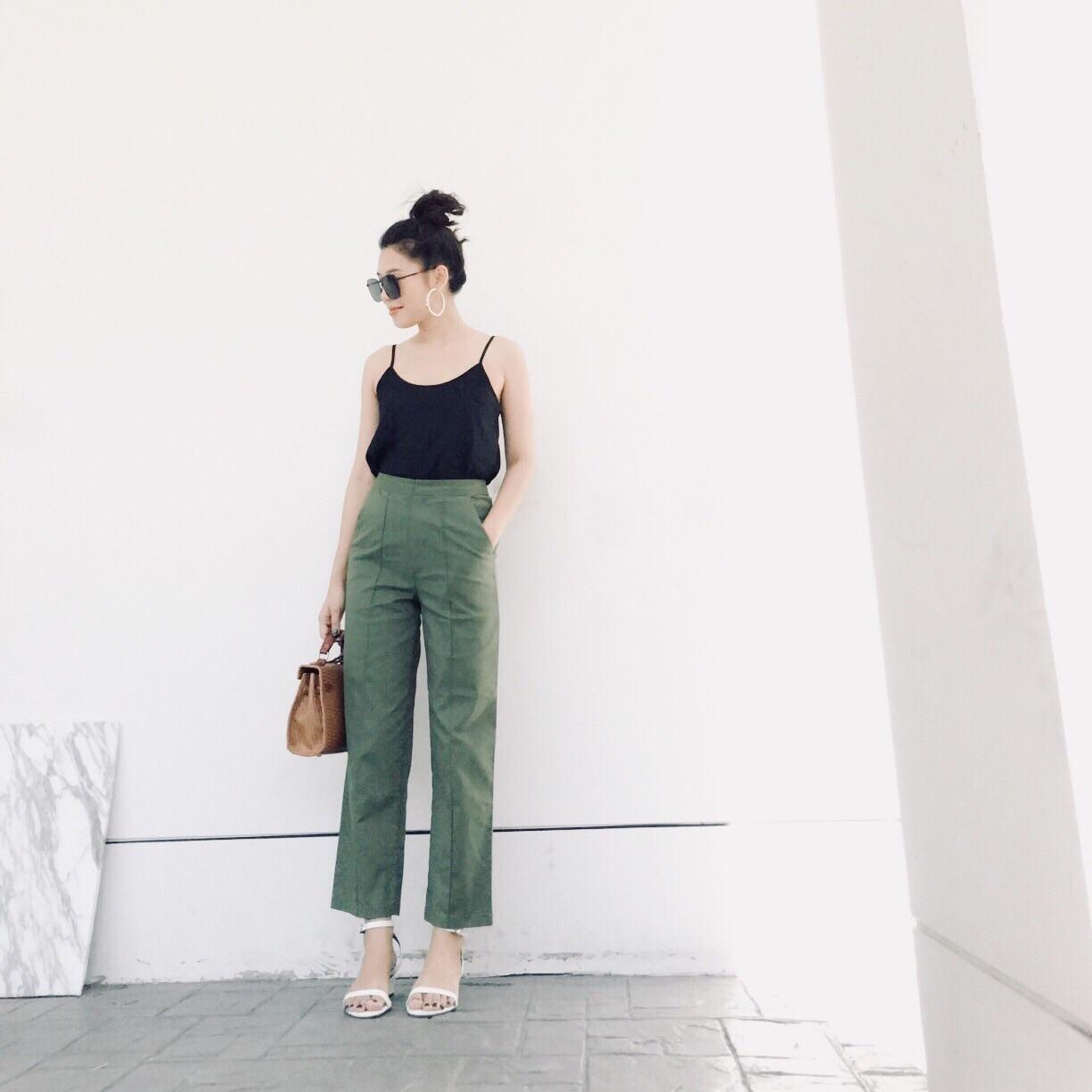 กางเกงขายาวแฟชั่น สีเขียว