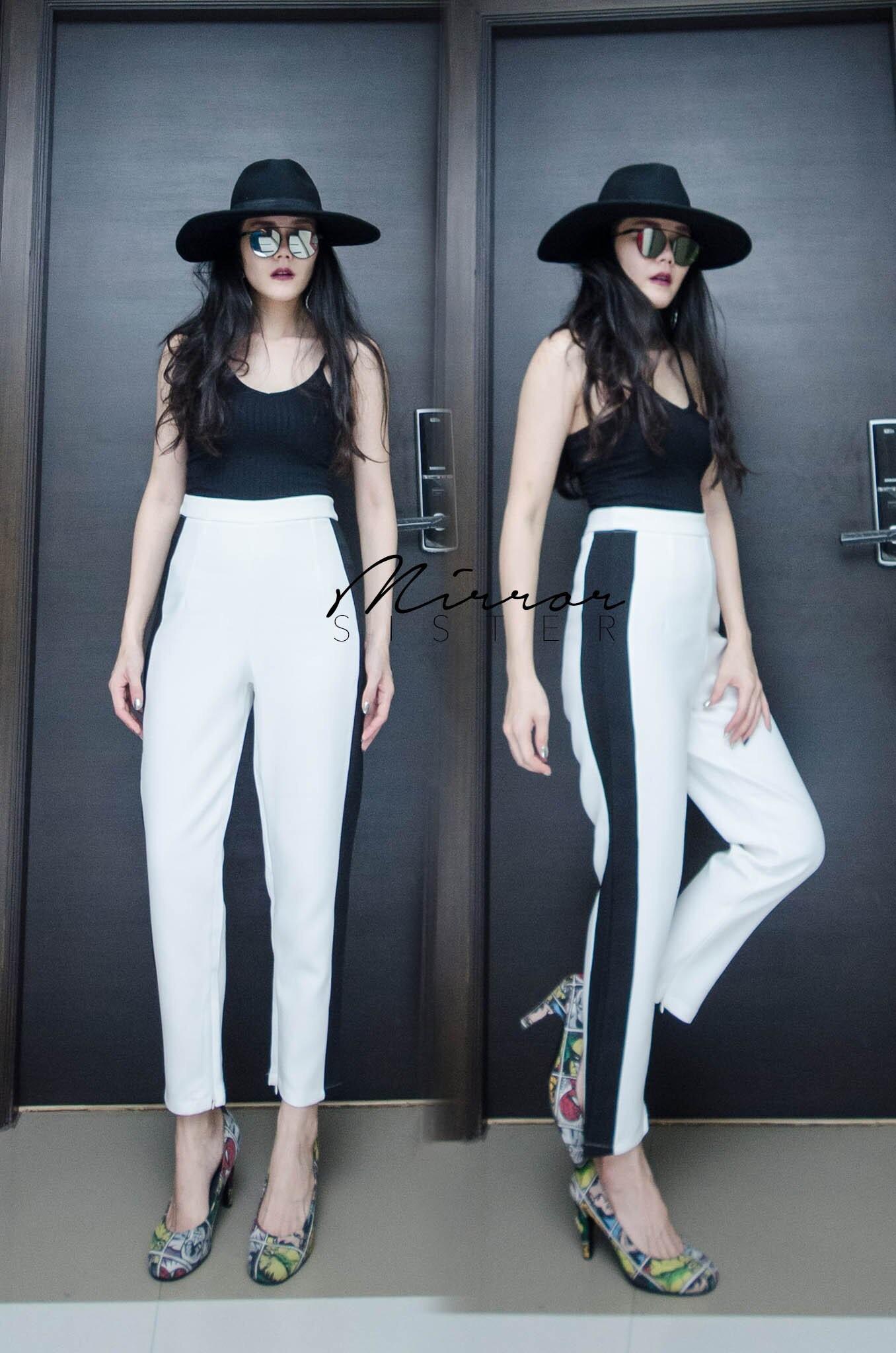 กางเกงเอวสูงแฟชั่น สีขาว