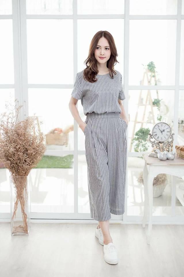😁Single pocket top+pants set😁_Gray Stripe