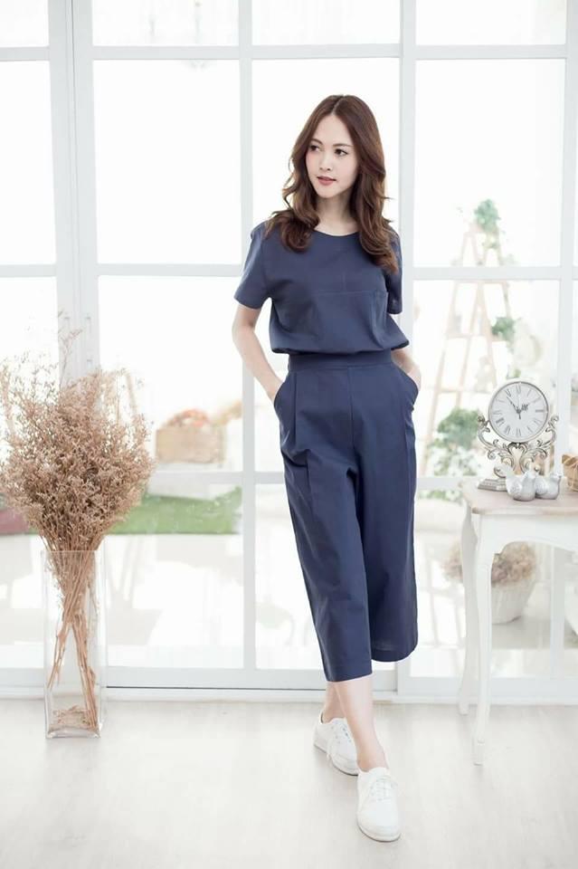 😁Single pocket top+pants set😁_Navy Blue