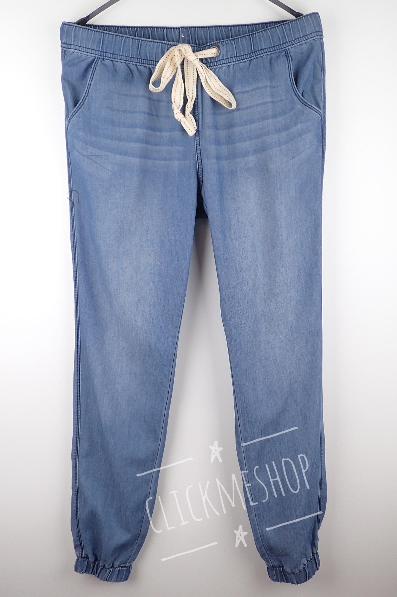 (ไซส์ L เอว 32-34 สะโพก 42 นิ้ว ) กางเกงยีนส์ ผ้าไม่หนามาก เอวยืด ปลายขาจั๊มโบว์เอว น่ารักคะ