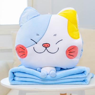 หมอนผ้าห่ม ลายเจ้าเหมียวตาโต สีฟ้าผสมขาว