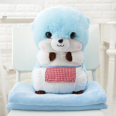 SC0003 Free ปักชื่อบนผ้าห่ม!! ตุ๊กตาหมอนผ้าห่มบีเวอร์ สีฟ้า น่ารักมากๆ ตัวใหญ่พอดีกอด ผ้าห่มอุ่นมาก