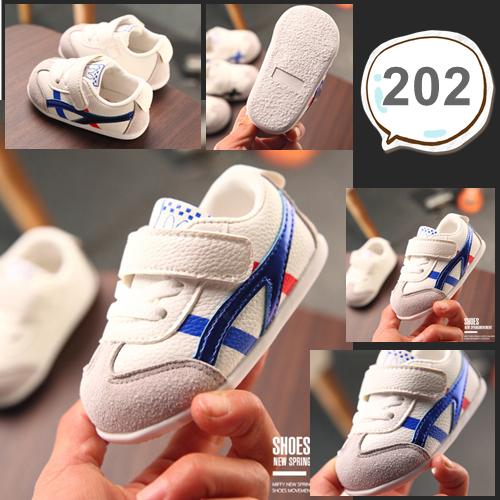 รองเท้าเด็กอ่อน รองเท้าเด็กหัดเดิน สีขาวคาดน้ำเงินแดง - White & Blue 202