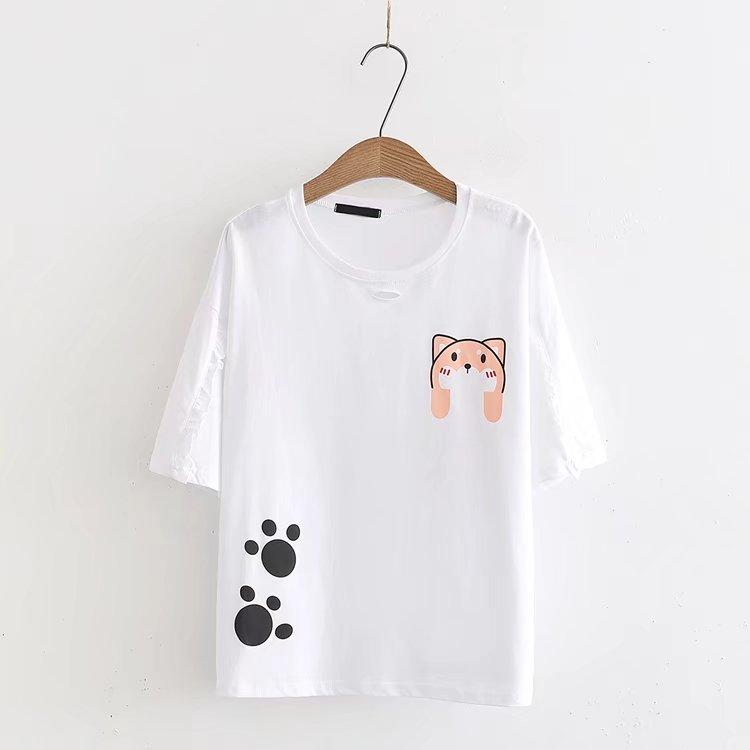 เสื้อยืดแขนสั้นแต่งลายแมว สีสันน่ารักสดใส