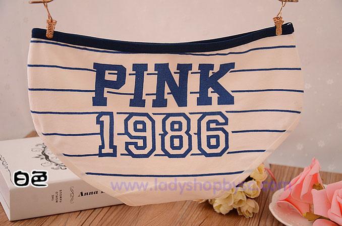 กางเกงในผ้าฝ้ายผสม ลายPINK สีขาวขอบน้ำเงิน