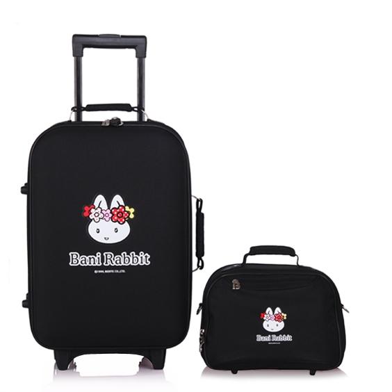 [Preorder] กระเป๋าล้อลากกระต่ายน้อย พร้อมกระเป๋าสะพายข้าง สีดำ (1 เซ็ต/2 ใบ) Beini Rabbit 2013 new cartoon cute boxes Trolley female luggage suitcase set
