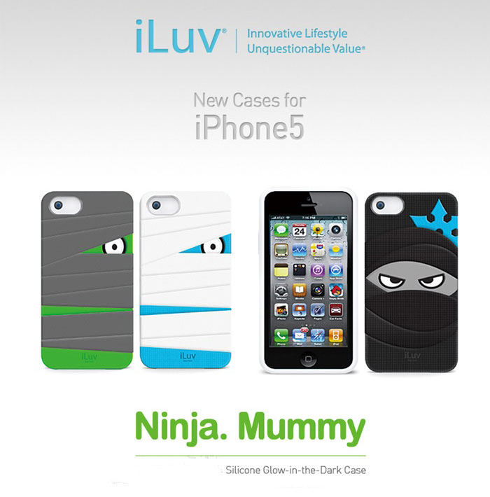 iLuv : Silicone Glow-In-The-Dark Case Ninja.Mummy For Apple iPhone 5