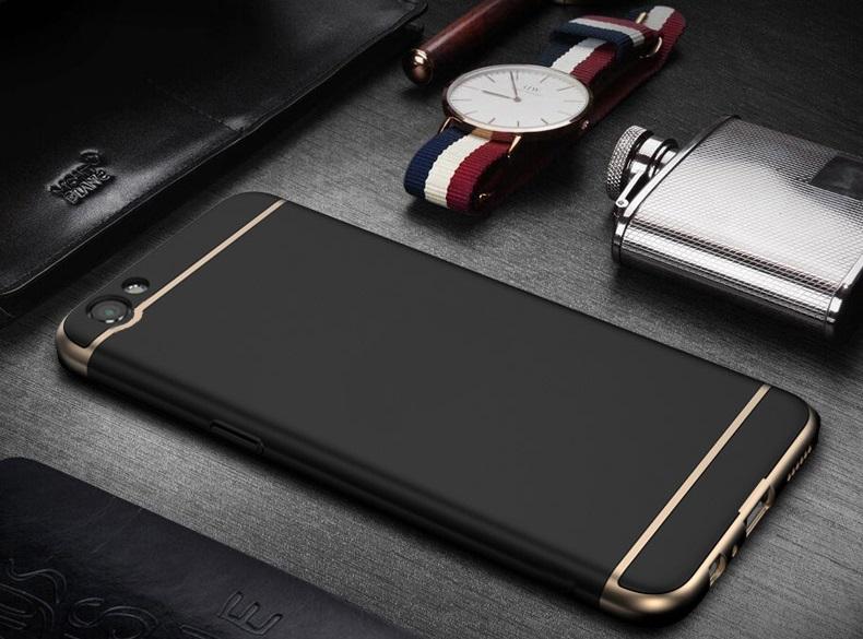 (025-1172)เคสมือถือ Case OPPO A77 เคสพลาสติกสีสดใสขอบทองแววสไตล์แฟชั่น