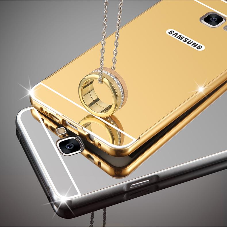 (025-245)เคสมือถือซัมซุง Case Samsung A7 2017 เคสโลหะพื้นหลังพลาสติกอะคริลิคแววคล้ายกระจก
