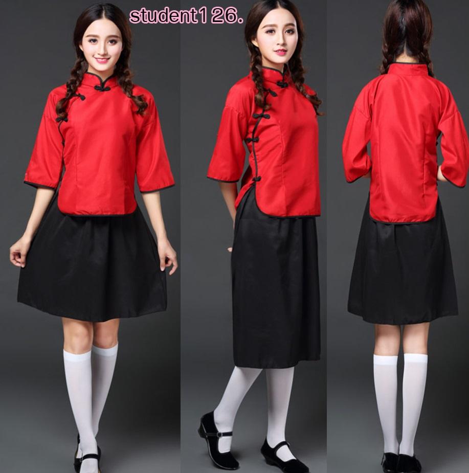รหัส student126 สีแดง ชุดคอสเพลย์นักเรียน