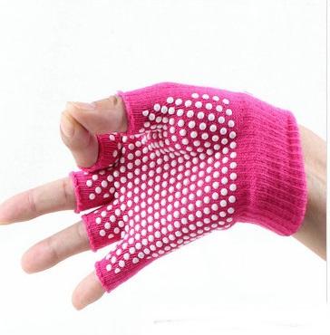 ถุงมือโยคะ กันลื่น คุณภาพสูง สีชมพูเข้มเม็ดสีขาว