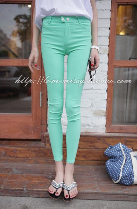 กางเกงเลกกิ้ง สีเขียว พร้อมส่ง