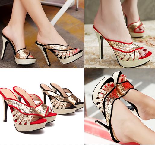 รองเท้าส้นสูงแบบสวมสีแดง/ดำ ไซต์ 34-39