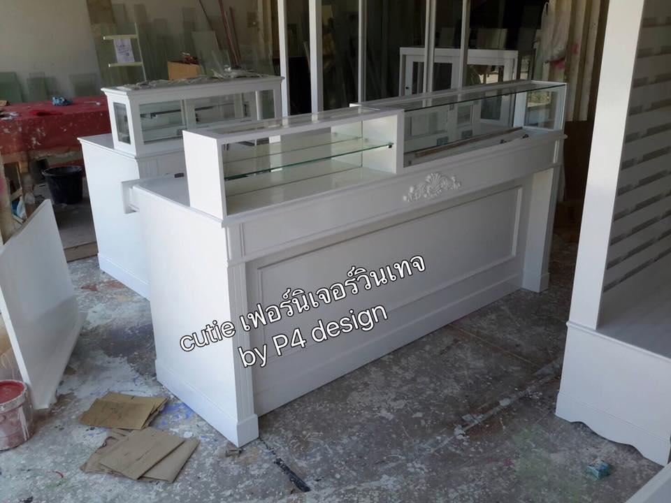 เคานเตอร์+กล่องกระจกใสด้านบน สีขาว วินเทจ สำหรับร้านค้า