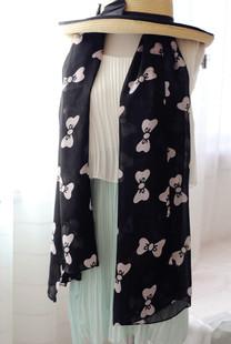ผ้าพันคอชีฟอง ลายโบว์สีดำ ( รหัส P34 )