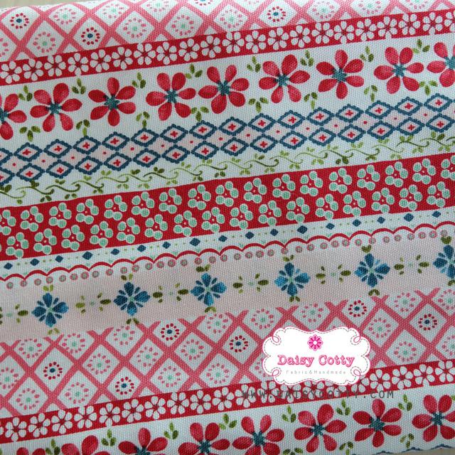 ผ้าแคนวาสญี่ปุ่น 100% 1/4 ม.(50x55ซม.) โทนสีแดง ลายดอกไม้