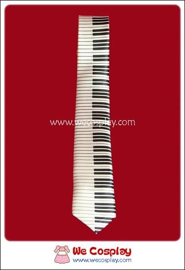 เนคไทพังค์ ลายเปียโนสีขาว