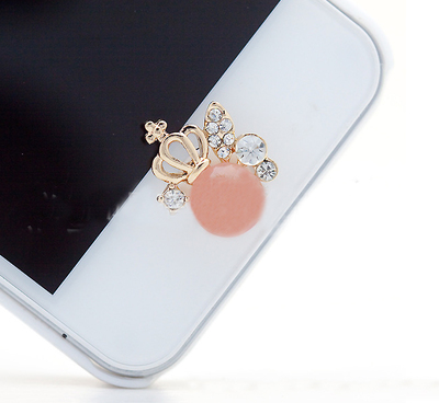 ปุ่มโฮมไอโฟนประดับเพชร รูปมงกุฏเจ้าหญิงสีชมพู