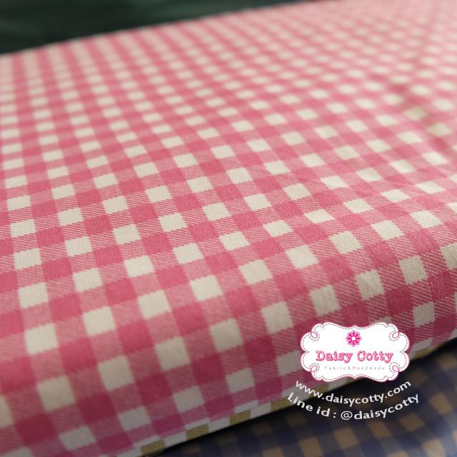 ผ้าคอตตอนไทย 100% 1/4ม.(50x55ซม.) ลายตาราง โทนสีชมพู