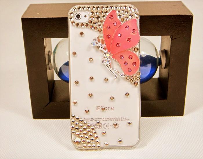เคสไอโฟน 5/5s (Case iphone 5/5s) เคสไอโฟนกรอบโปร่งใส ประดับเพชรและผีเสื้อปีกสีชมพู