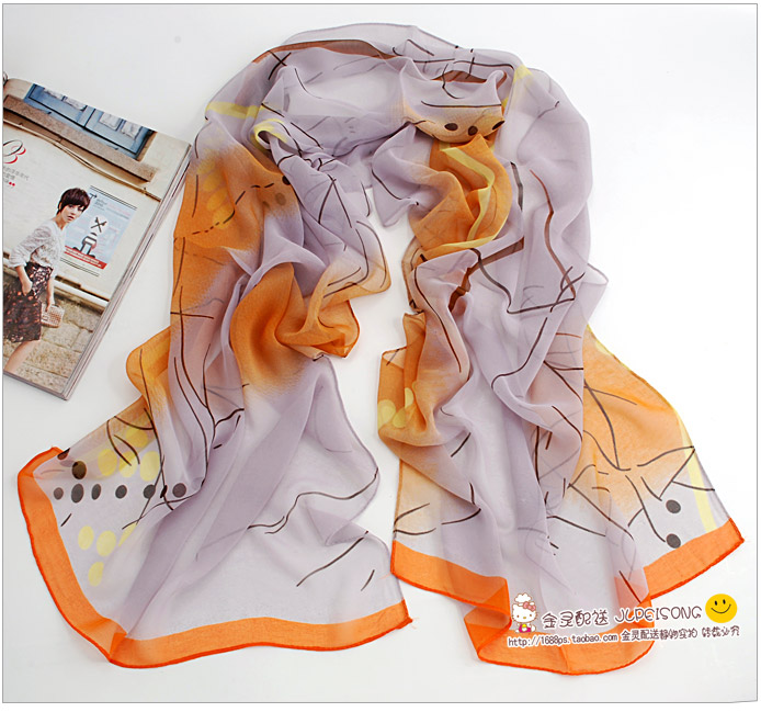 ผ้าพันคอผ้าPolyester+ผ้าไหม ลาย Orange Dot ( รหัส P108 )
