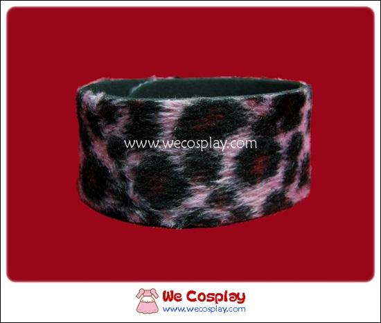 สร้อยข้อมือพังค์ Punk Wristband ลายเสือ สีดำชมพู