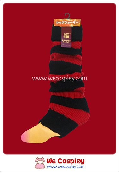 ปลอกขา สีดำแดง ดึงย่นเป็น Loose Socks ได้ เป็น props กันหนาวได้