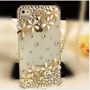 เคสไอโฟน 4/4s (Hard Case) เคสไอโฟนกรอบโปร่งใสประดับเพชรรูปดอกไม้สีขาว