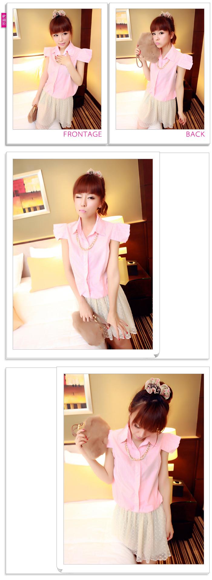 เสื้อเชิ้ตเกาหลี เก๋ด้วยดีไซน์แขนเสื้อ พิเศษ มาพร้อมกับสร้อยคอประดับ