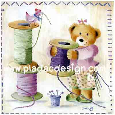 กระดาษสาพิมพ์ลาย rice paper เป็น กระดาษาสา สำหรับทำงาน เดคูพาจ Decoupage แนวภาพ หมีกะด้าย :) หมีน้อย เท็ดดี้ แบร์ teddy bear แต่งตัวสวยหวานเตรียมงานเย็บปักถักร้อย (ปลาดาวดีไซน์)