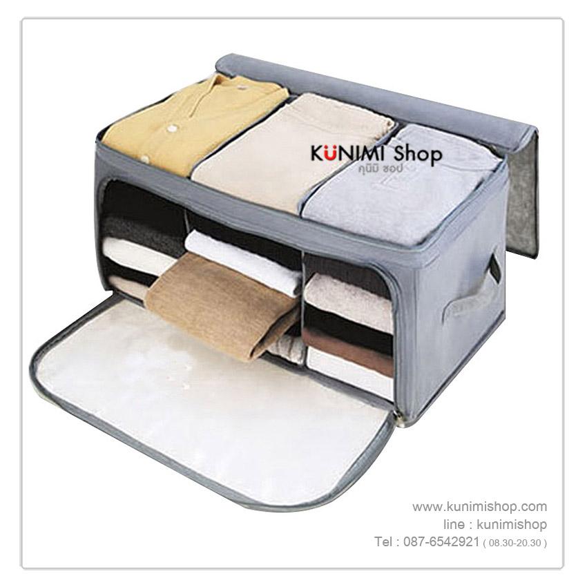 GH007 กระเป๋าจัดเก็บเสื้อผ้า เนื้อผ้าไม่ทอ ทำจากเยื้อไม่ไผ่ แบบบาง ไม่มีฐานรองก้น มีซิบเปิด- ปิด กันฝุ่น กันเปื้อน (3ช่อง และ 4 ช่อง) เปิดได้ทั้งด้านหน้าและด้านบน พร้อมหูหิ้ว