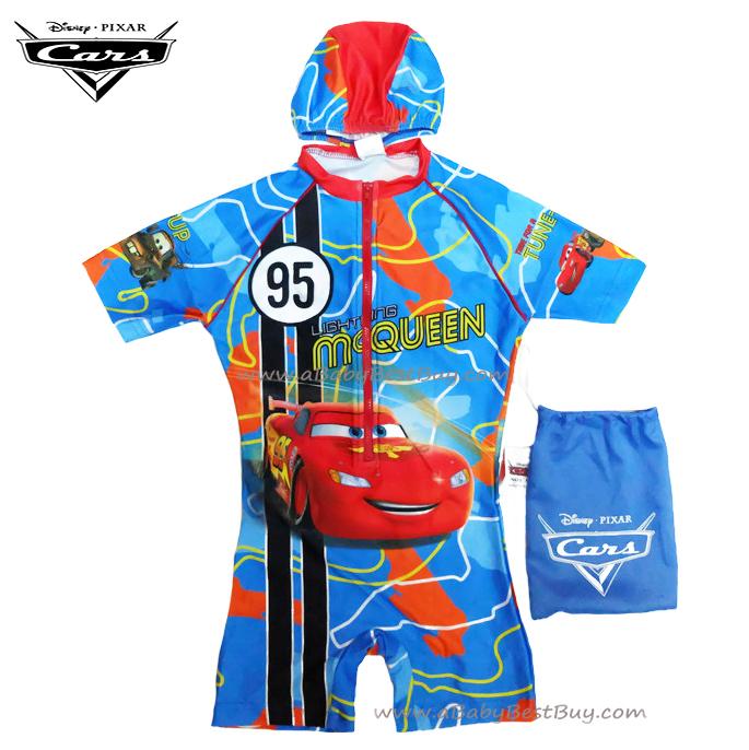 ฮ Size S - ชุดว่ายน้ำเด็กผู้ชาย Disney Cars สีน้ำเงิน บอดี้สูทเสื้อแขนสั้นกางเกงขาสั้น สกรีนลาย Cars มาพร้อมหมวกว่ายน้ำ สุดเท่ห์ ใส่สบาย ลิขสิทธิ์แท้ (สำหรับเด็กอายุ 4-5 ปี)