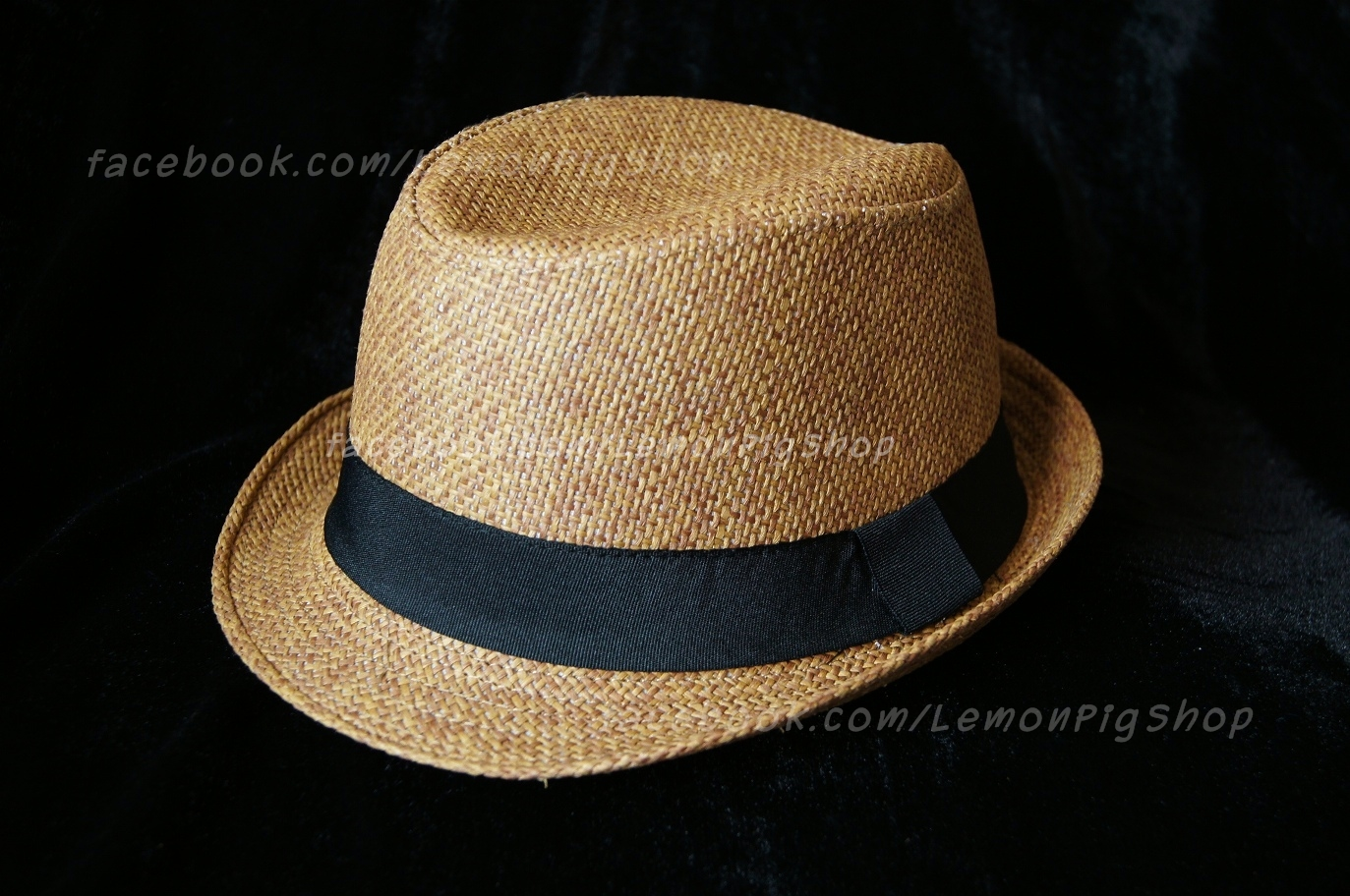 หมวกสาน ทรงไมเคิล สีน้ำตาลขอบเรียบ แถบดำ ฮิตๆ !!!