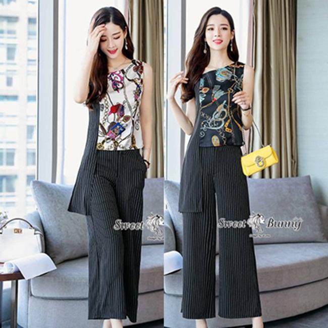 ชุดเซทแฟชั่น ชุดเซ็ทเสื้อ+กางเกงงานเกาหลี ผ้าทอเนื้อดีนุ่มมีน้ำหนัก