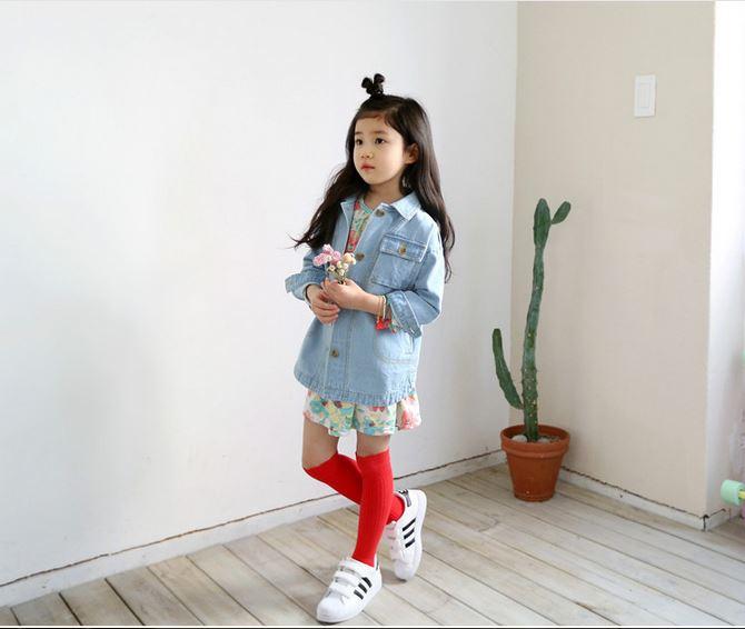 ถุงเท้ายาว สีแดง ไซส์ 7-10