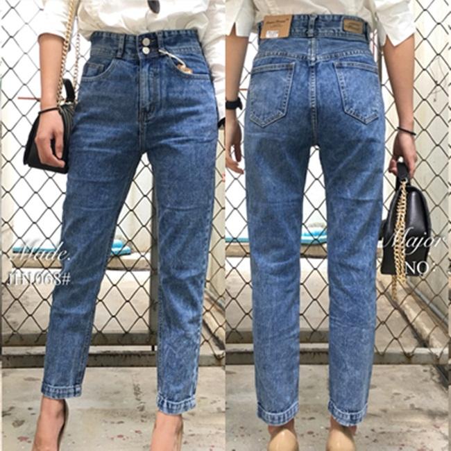 กางเกงแฟชั่น High waist boyfriend jeans กางเกงยีนส์ทรงบอยเอวสูง